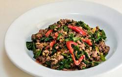 Stir fried tree basil with  minced beef / pork