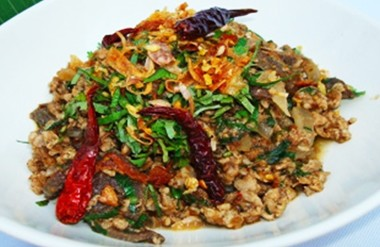 Stir fried minced pork with northern spices.