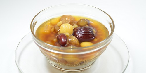 Assorted beans in lychee syrup hot/cold.