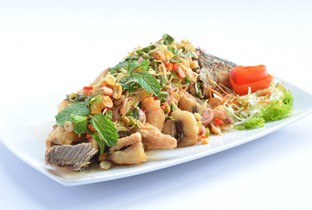 Deep fried  fish with mixed herb.